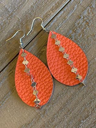 Coral Orange Leather Earrings with Silver Diamond Chain