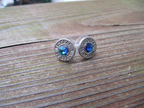 Bullet Earrings-38 Special Blue Green Swarovski