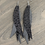Thumbnail: Grey Leopard Stacked Fringe Feather Earrings