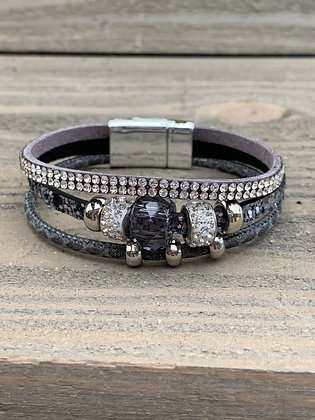 Grey Glitter Beaded Rhinestone Magnetic Bracelet