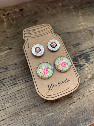 Pink and Yellow Floral and 38 Caliber bullet earring set