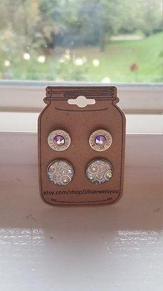 Druzy and Bullet Earrings-38 Cal Clear Kaleidocope