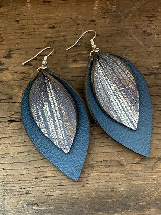 Denim Blue Rain Double Layer Leather Earrings