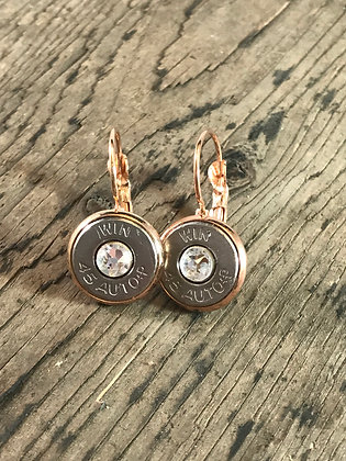 Rose gold lever back earrings with 45 Auto bullets