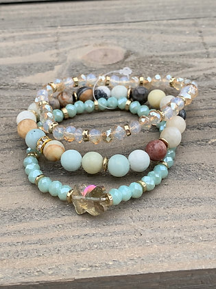 Brown and Mint Green Gemstone Triple Stacked Stretch Bracelet Set