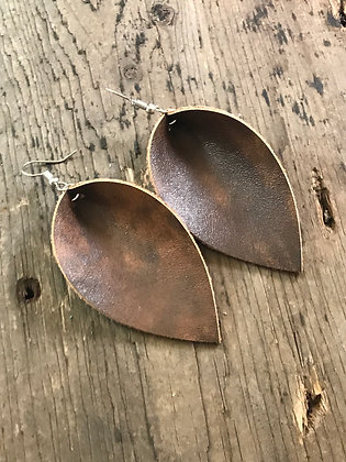 Brown bomber leather style leather earrings