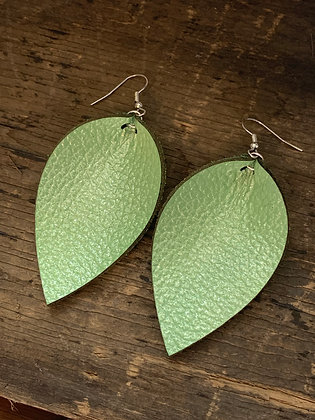 Candy Apple Green Leather Earrings