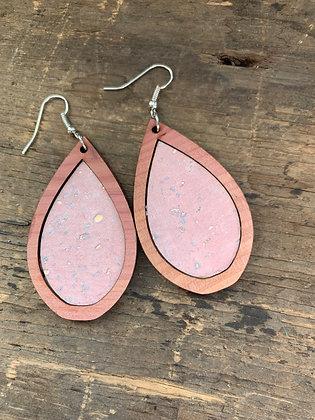 Pink Cork Wood Teardrop Earrings