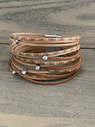 Tan and Gold Tiled Leather Magnetic Bracelet