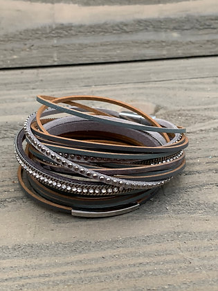 Grey and Silver Double Wrap Magnetic Bracelet