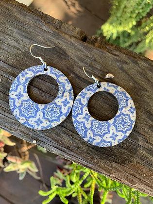 Blue and White Tile Print Cork Hoop Earring