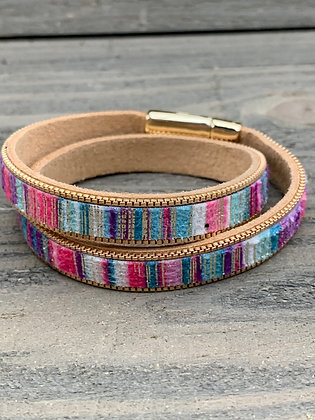 Pink Purple and Blue Double Wrap Magnetic Bracelet