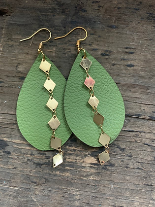 Lime Green Leather Earrings with Gold Diamond Chain
