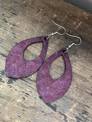 Purple Cork Teardrop Earring