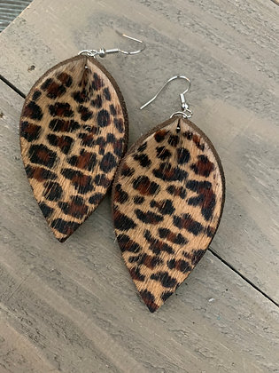 Leopard  hair on leather earring