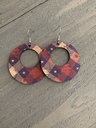 Red White and Blue Star Plaid Cork Hoop Earring