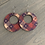 Thumbnail: Red White and Blue Star Plaid Cork Hoop Earring