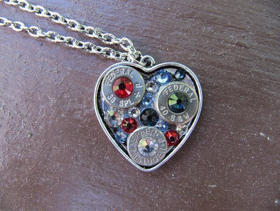 Rhinestone Bullet Heart Necklace-Patriotic