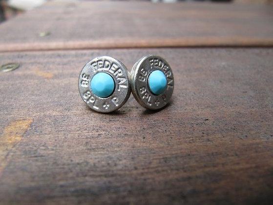 Bullet Earrings- 38 Caliber Turquoise