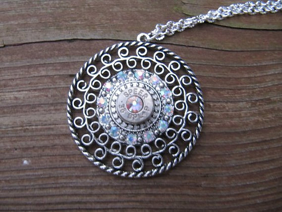 38 Pendant Necklace with AB Crystal Accents
