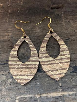 Walnut Wood Gold Cork Teardrop Earring