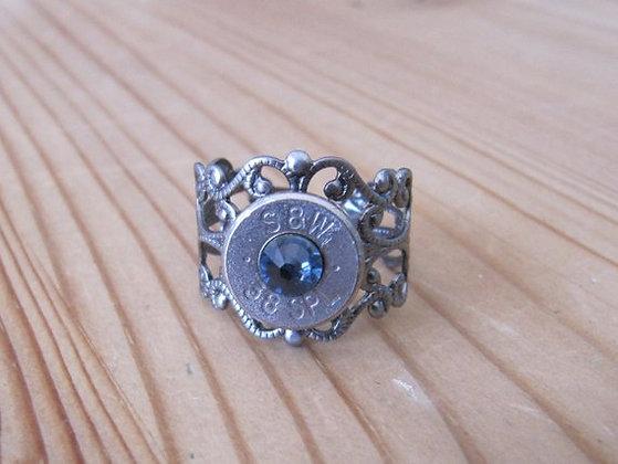 Bullet Ring- 38 Special Denim Blue Swarovski