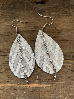Silver and White Chevron Leather Earrings with Silver Ball Chain