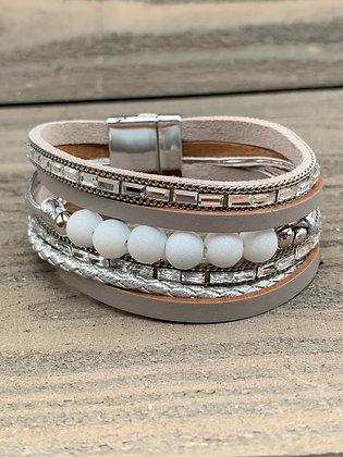 Taupe Beaded Rhinestone Magnetic Bracelet