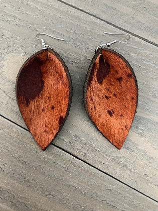 Rust Brown acid wash hair on leather earring