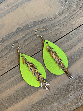 Neon Green Leather Earrings with Silver Leaf Chain