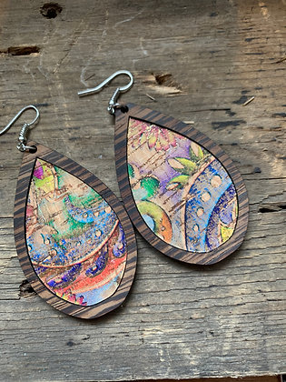 Rainbow Floral with Gold Cork Wood Teardrop Earrings