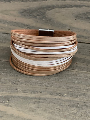 Tan and White Leather Magnetic Bracelet