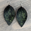 Thumbnail: Green Acid Wash Hair on leather earring