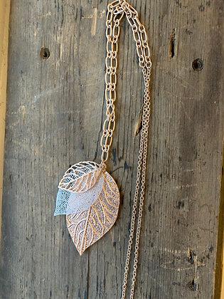 Long rose gold leaf necklace