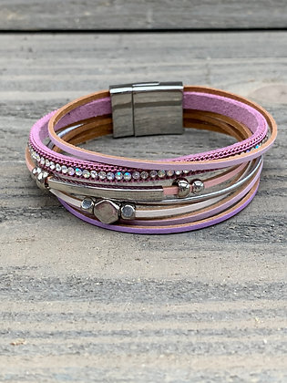 Silver and Purple Rhinestone Magnetic Bracelet