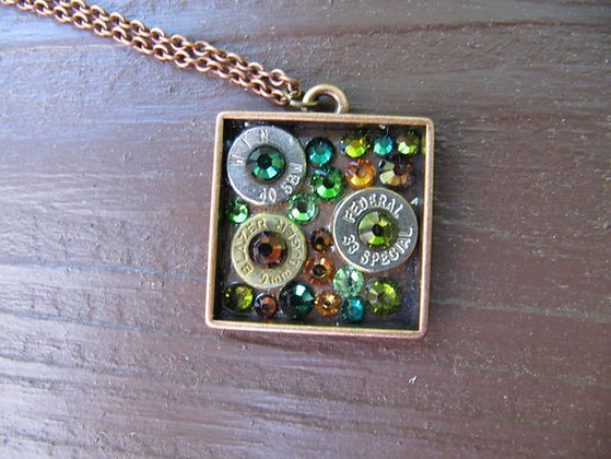 Square Bullet Necklace - Copper and Green