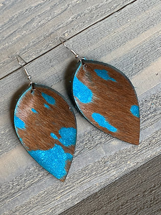 Turquoise Acid Wash Hair On Leather Earrings