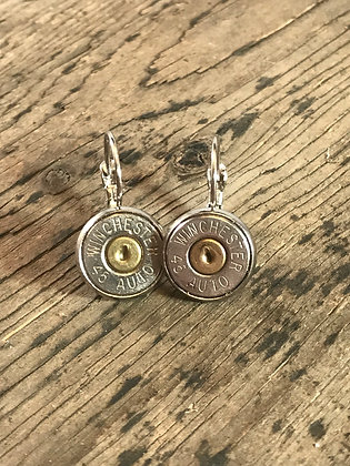 Silver lever back earrings with 45 Auto bullets