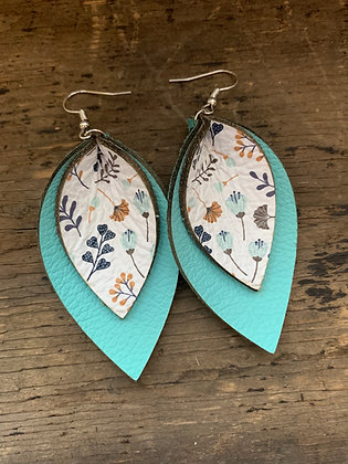 Teal Floral Double Layer Leather Earrings