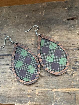 Green and Black Plaid Cork Wood Teardrop Earrings