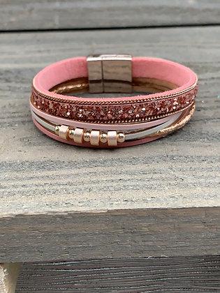 Pink Glitter and Rose Gold Magnetic Bracelet