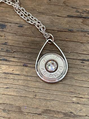 Silver 45 Auto Bullet teardrop Necklace
