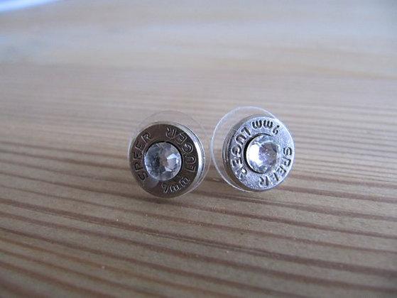 Bullet Earrings- 9mm Clear Swarovski