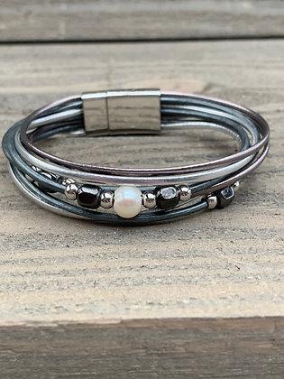 Silver and Gunmetal Beaded Magnetic Bracelet