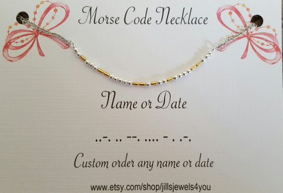 Morse Code Necklace- Name or Date