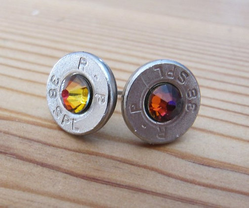 Bullet Earrings-38 Spec Rainbow Volcano Swarovski