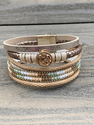 Tan Green and White Magnetic Bracelet