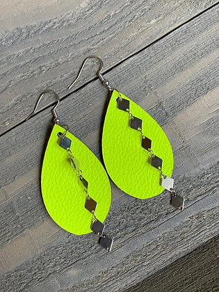 Neon Yellow Leather Earrings with Silver Diamond Chain
