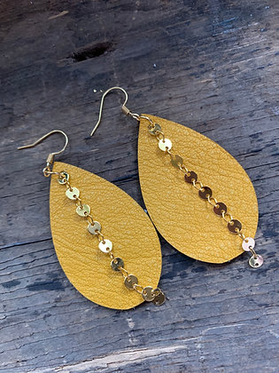 Mustard Yellow Leather Earrings with gold coin chain