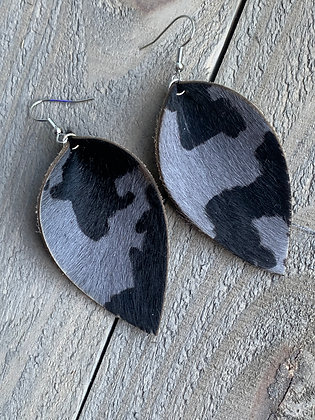 Grey and Black Camo hair on leather earring
